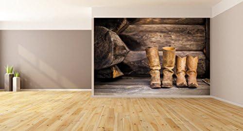 """国テーマカウボーイブーツログキャビン壁画壁アート 96""""hx96""""w 210-96x96"""