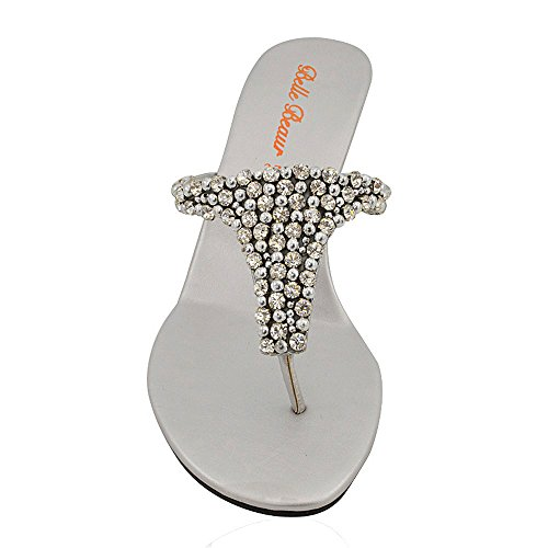 Infradito Finto Le a Donna Scarpe Diamante GLAM Tacco Argento con Elegante Signore Scintillante Sandali ESSEX Zeppa n7E4Wa8YW