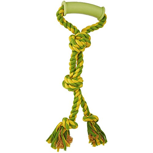 (Leaps & Bounds Toss and Tug Twin Knot Dog Toy with Handle in Assorted Colors, 9