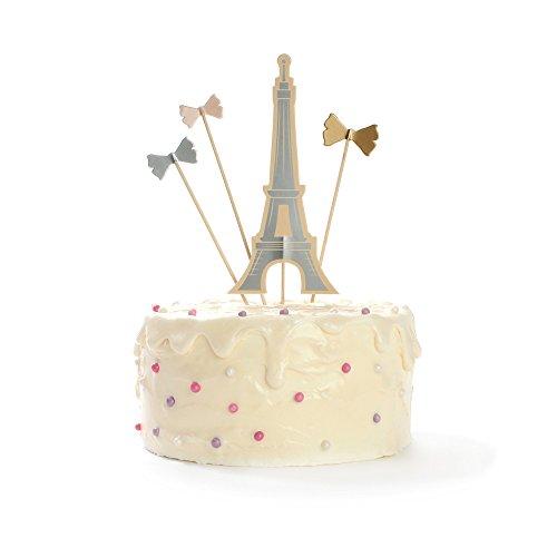 Price comparison product image Eiffel Tower Paris Cake Topper Bow Cake Topper Paris Baby Shower Paris Wedding Favor Bow & Eiffel Signature Set of 4