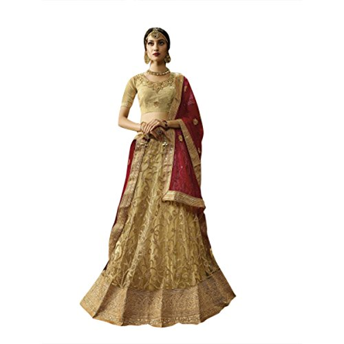 GOLDEN NEW LAUNCHED BRIDAL WEDDING DESIGNER LEHENGA CHOLI DUPATTA CEREMONY BRIDE WEAR SILK MULTI COLOR SIZE 44 552_1 -