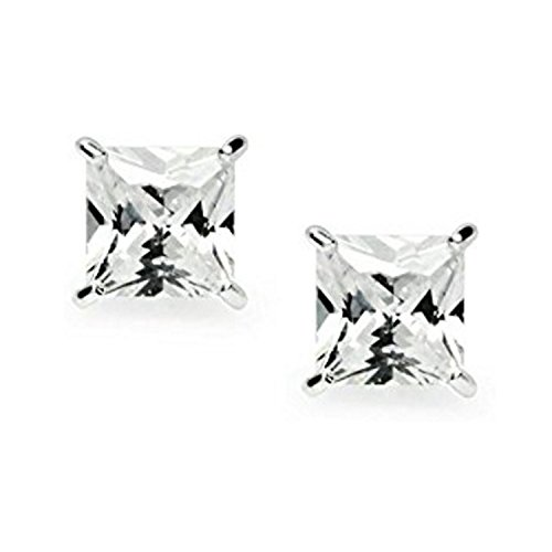 925 Sterling Silver Princess Cut Simulated Diamond CZ Stud Earrings 7mm Set