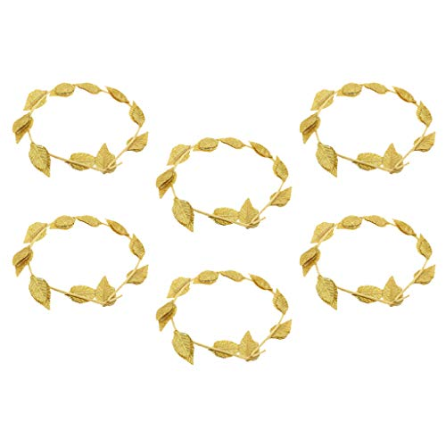 Baoblaze 6pcs Women's Costume Greek Roman Laurel Wreath Gold Leaves Headband Toga Fancy Dress Headpiece -