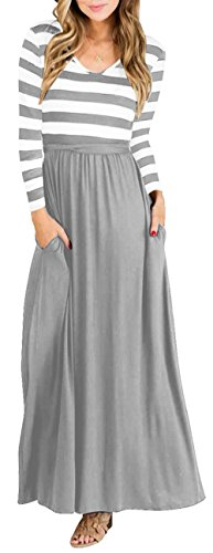 FALLINLOVE Womens Dresses Long Sleeve Round Neck Striped Casual Long Maxi Dress with Pockets