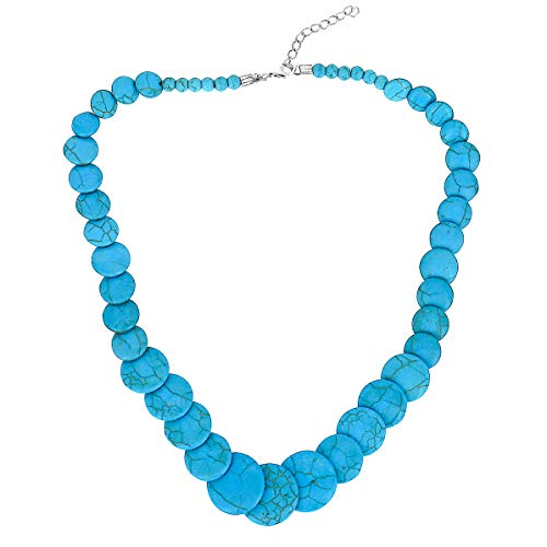 Comelyjewel Fashion Jewelry Girls Boho Classic Blue Stone Statement Necklace for Women ()