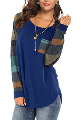 Aokosor Color Block Shirts for Women O Neck Cute for Fall Winter Long Sleeve Tunic Tops Blouses Navyblue 2XL ()