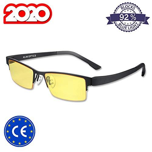 KLIM™ Optics - Gafas para Ordenador Anti luz Azul + Evita la Fatiga Ocular + Gafas Gaming para PC, Movil TV, Tablet + Alta proteccion + Potente Filtro de luz Azul 92% + Anti UV + Nueva VERSIÓN 2020