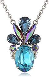 "Sorrelli ""Northern Lights"" Deco Style Oval Crystal Silver-Tone Pendant Necklace, 16.88"""