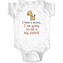 I have a secret... I am going to be a Big Sister - giraffe design - Baby Bodysuit