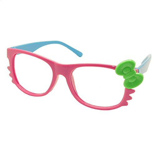 FancyG Cute Nerd Glass Frame with Bow Tie Cat Eyes Whiskers Eyewear for Kids 3-12 NO LENS - Hot Pink Blue with Green - Nerd Hot Glasses Pink
