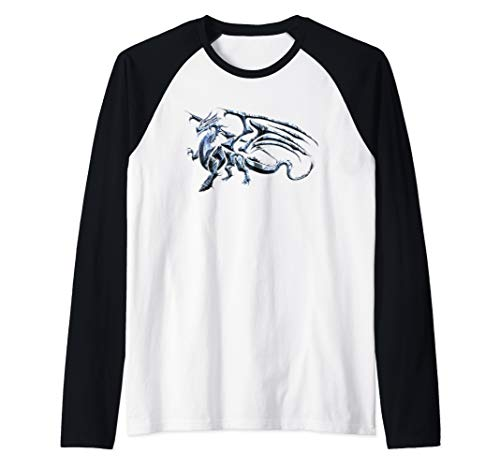 Winged Dragon Tribal Tattoo Light Blue Silhouette Image Raglan Baseball Tee