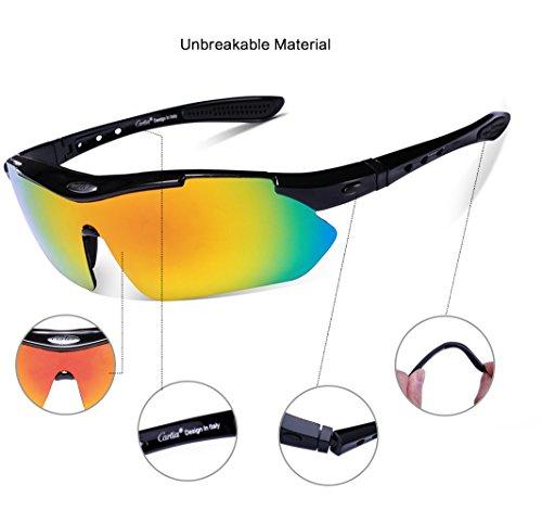 Carfia UV400 Protezione Outdoor Sport Polarizzati Occhiali da Sole con 5 lenti intercambiabili per ciclismo arrampicata corsa guida gara ski golfo e pesca Y6vwxCNwF