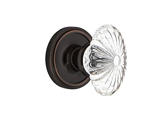 Nostalgic Warehouse Classic Rosette Double Dummy Oval Fluted Crystal Glass Door Knob in Timeless ()