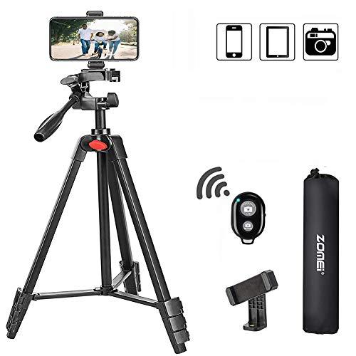 ZOMEi Handy Stativ, 135cm Kamera Stativ, Leicht Aluminiumlegierung Reisestativ für Fotografie YouTube-Videos mit Bluetooth Fernbedienung, kompatibel für Smartphone, Kameras und LED-Ringlicht (Rot)