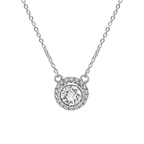 omega jewellery 10K Gold Round Cut Natural Diamond Halo Style Pedant With Chain (0.70 Ct) (Omega Style Necklace)
