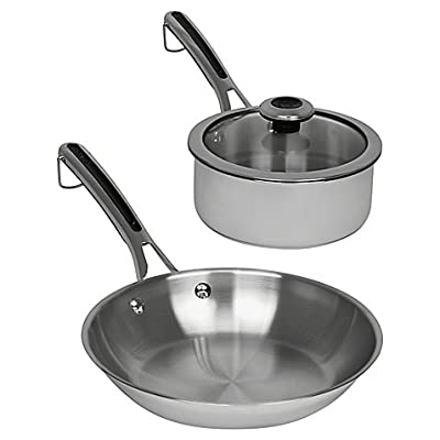 "Revere Copper Confidence Core Stainless Steel Frying Pan and Covered Sauce Pot Set l 10"" Frying Pan - 2-qt. Sauce Pot with Lid"