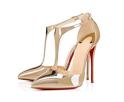 singola fibbia verniciata alto in pelle scarpe YWNC a tacco 2018 Type punta fibbia oro con cava scarpe sandali T 46 gold Ladies Womens UUPcTHFzq