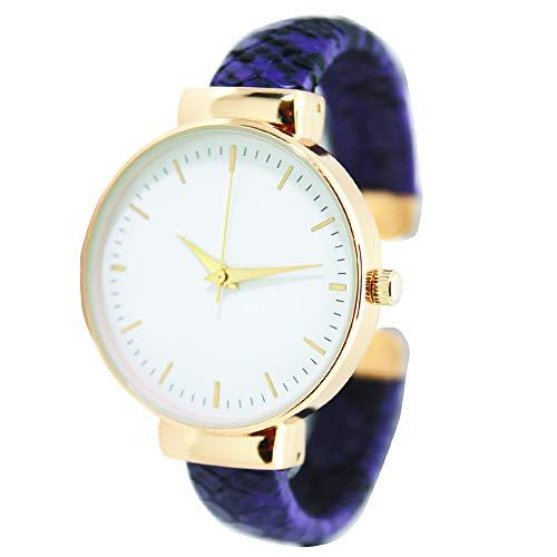 Fashion Watch Wholesale Python Leather Bangle Cuff (Purple)