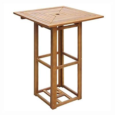 HomyDelight Outdoor Table, Outdoor Bar Table Acacia Wood