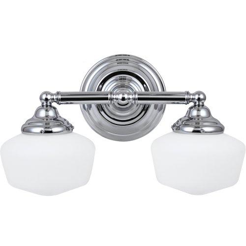 Double Bath Sconce (Sea Gull Lighting 44437BLE-05 Bath Vanity with White Schoolhouse Glass Shades, Chrome Finish)