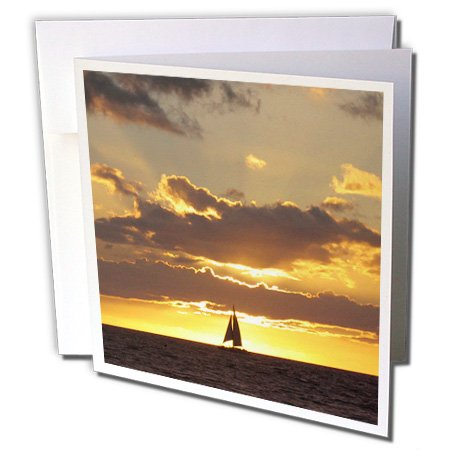 Sailboat at Sunset ship sails sea Ocean sailor nautical - Greeting Cards, 6 x 6 inches, set of 6 (gc_112954_1)