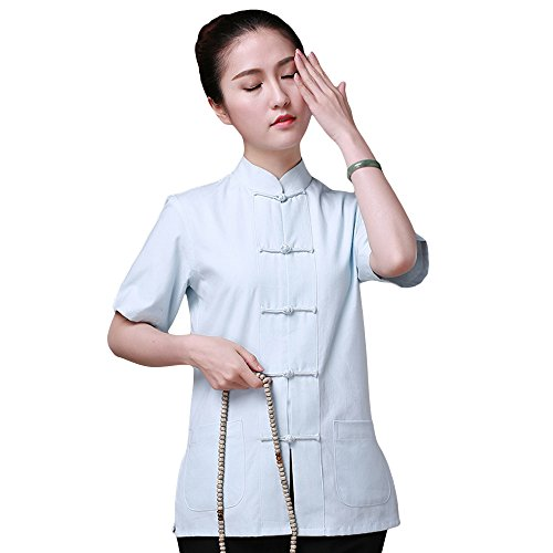 ZooBoo Chinese Traditional Clothing Dress - Tang Style Tai Chi Tang Suit Short-sleeved Martial Arts Kung Fu Uniforms Outfit Costume Suit Shirt Blouse Apparel Clothing for Women (Sky Blue, L)