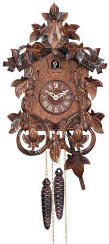 River City Clocks one day hand-carved cuckoo clock with intricate leaves and vines, 14-inch tall