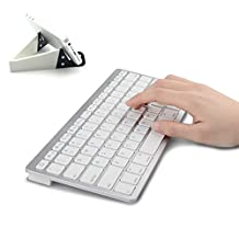 MOTONG Ultra Slim Mini Bluetooth 3.0 Wireless Keyboard with Portable Stand for Apple iPad Air,iPad mini,iPhone,Samsung,HTC,and other Smartphones and Tablets.