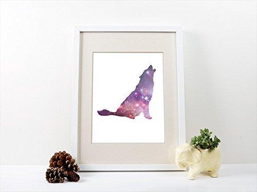 Amazon com: Wolf Spirit Animal Art Print, Galaxy Wolf Poster