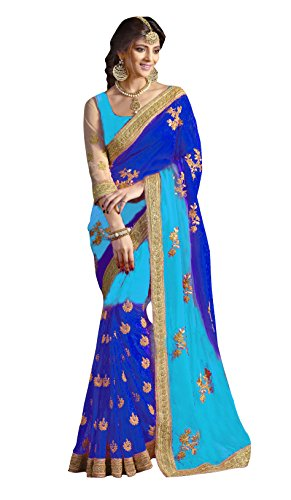 Delisa Designer Indian ethnic party wear Women's Saree with Blouse in Georgette Designer Saree (Blue and Sky Blue) by Delisa