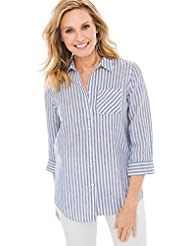 Chicos Womens No-Iron Linen Shirt