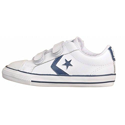 Converse - Zapatillas Star Player 3V OX leather, unisex, white/navy Blanco