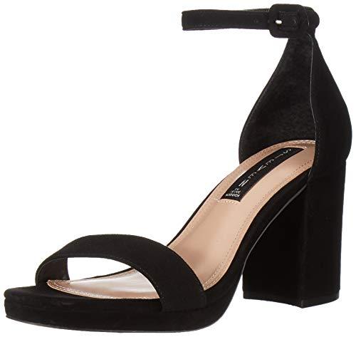 Steven Steve Madden Women's VINO Sandal Heeled, Black Suede, 6 M US