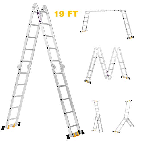 Finether Aluminium Folding Ladder 19ft Multi-Purpose Extension Ladder Heavy Duty with Safety Locking Hinges and 2 Panels EN131 Certified Four-Fold Ladder 331 Lbs Capacity