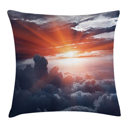 Clouds Throw Pillow Cushion Cover by Lunarable, Sun Beams above the Clouds Crossing Atmospheric Effects Earth's Motion Angle Print, Decorative Square Accent Pillow Case, 40 X 40 Inches, Pink Grey