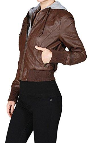 Ola Mari PU Faux Leather Crinkled Jacket with Inner Fleece Hoodie, Juniors' Small, Deep Brown