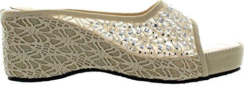 Bolaro Womens Dw4999 Crochet Lace Sparkle Open-Toe Flatform Wedge Sandal,Nude,5.5