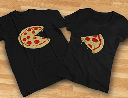 The Missing Piece Pizza & Slice - His and Her Shirts - Matching Couple T-Shirts Men Black Medium/Women Black Small