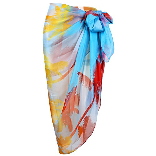 Chic Diary Women Chiffon Pareo Beach Wrap Sarong Swimsuit Scarf Cover Up For Vacation  Coconut Palm 76 8  X 53 1