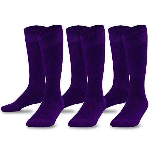 - TeeHee Bamboo All Sports Half Cushion Socks with Arch Support 3-Pairs Pack (Junior (7-9), Purple)