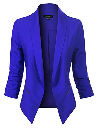 Tweed Blazer Fitted - MixMatchy Women's Solid Open Front 3/4 Sleeve Side Zipper Pocket Formal Style Blazer Royal S