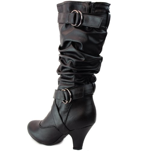 Amazon.com | Top Moda Women's Auto-2 Round Toe Dress Boot | Mid-Calf