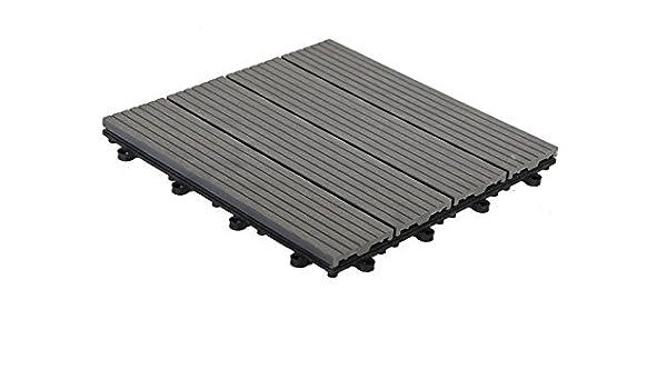 WPC - Baldosas de suelo para terraza, WPC, madera, 30 x 30 cm, 1 m2 (11 baldosas), color antracita: Amazon.es: Bricolaje y herramientas