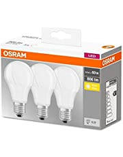 Osram LED Lamp/E27 Base/Warm White (2700 K)/Replaces 60 W Incandescent Bulbs/8.50 W/Frosted/LED Base Classic A, Pack of 3