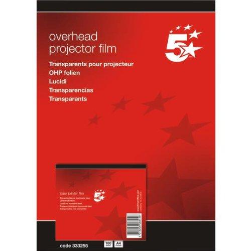 5 Etoiles ETL-333255 333255 Boîte de 100 transparents antistatiques pour Imprimantes laser PVC Incolore Films retroprojection