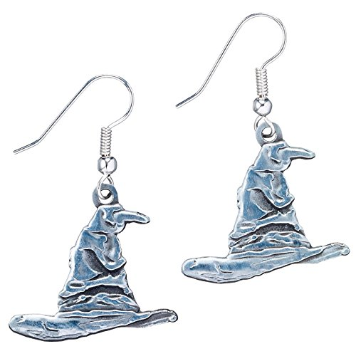 [Silver Plated Harry Potter Sorting Hat Drop Earrings] (Sorting Hat From Harry Potter)