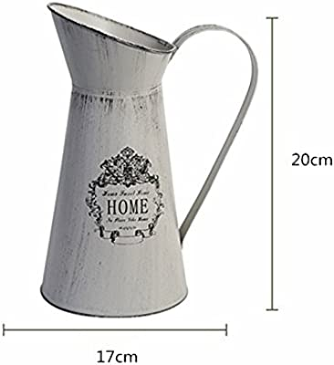LANTWOO Rustic Style Metal Pitcher Flower Vase Primitive Jug for Wedding Home Decoration