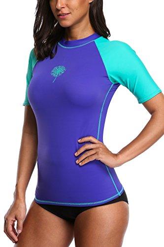 09fae1aa4e394 Sociala Women s Short Sleeve Rash Guard Swim Shirt UPF 50+ Rashguard  Swimsuit
