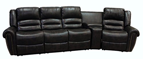 Austin Sectional Sofa (Milan AUSTIN-4PC Bonded Leather Reclining Sofa Set with 1 Console Table, Black)