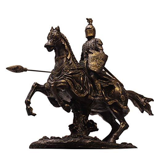 Medieval Warrior Armor Model, Ancient Roman Knight Statue Crafts, Bar and Restaurant Desktop Decoration H24CM